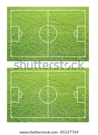 two soccer field from grass texture.