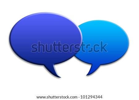 Two social media talk speech bubbles with shadows on white background