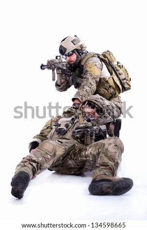 Two soldiers on a white