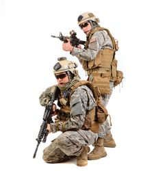 Two soldiers with a rifle on a white background