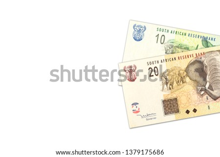 two south african rand banknotes with copyspace #1379175686