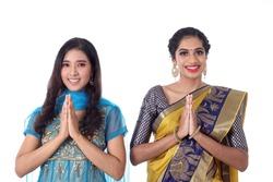 Two South east Asian Indian race ethnic origin woman wearing Indian dress costume sharee and salwar kameez multiracial community on white background