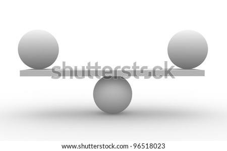 Two spheres in balance. (balance concept) 3d render