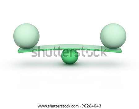 two spheres on seesaw balance concept