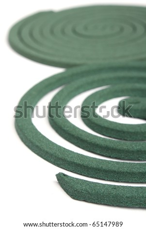 Two spiral. Mosquito coil isolated on white background.