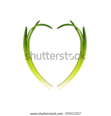 Two spring onions forming the shape of a heart, over white background.