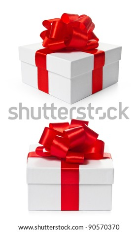 Two square gift boxes with red satin ribbon and bow isolated on white background with clipping path. Different views.