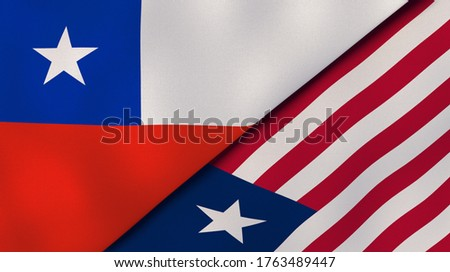 Two states flags of Chile and Liberia. High quality business background. 3d illustration Zdjęcia stock ©