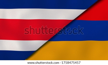Two states flags of Costa Rica and Armenia. High quality business background. 3d illustration Foto stock ©