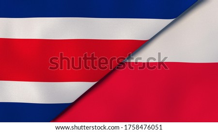 Two states flags of Costa Rica and Poland. High quality business background. 3d illustration Foto stock ©