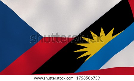 Two states flags of Czech Republic and Antigua and Barbuda. High quality business background. 3d illustration Stock fotó ©