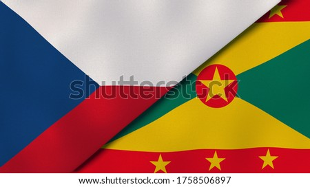 Two states flags of Czech Republic and Grenada. High quality business background. 3d illustration Stock fotó ©