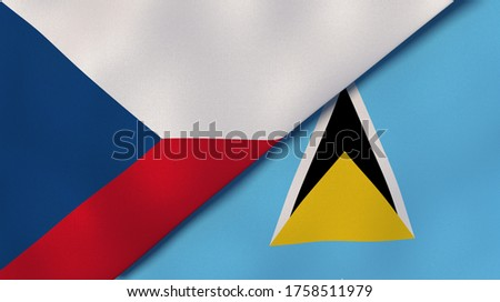 Two states flags of Czech Republic and Saint Lucia. High quality business background. 3d illustration Stock fotó ©