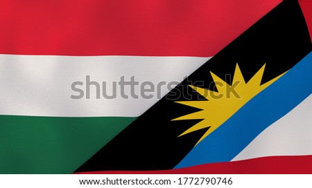 Two states flags of Hungary and Antigua and Barbuda. High quality business background. 3d illustration Stok fotoğraf ©