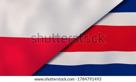 Two states flags of Poland and Costa Rica. High quality business background. 3d illustration Foto stock ©