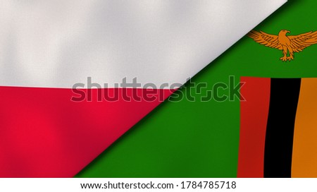 Two states flags of Poland and Zambia. High quality business background. 3d illustration Stock fotó ©