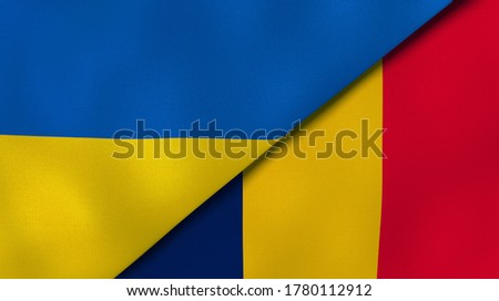 Two states flags of Ukraine and Chad. High quality business background. 3d illustration Stock fotó ©