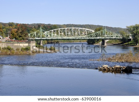 Two steel bridges that connect the cities of Easton, Pennsylvania and Phillipsburg, New Jersey.  The bridges span over the Delaware River.