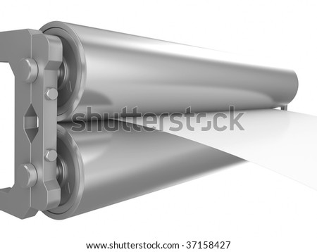 Two steel rollers with a paper between them