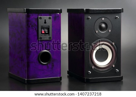 two stereo audio speakers on dark background. recording equipment