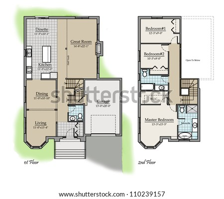 Two storey floor plan colored with room names stock photo for House plan names