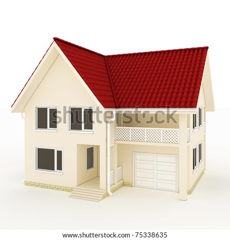 two-story house with red roof, balcony and garage - stock photo