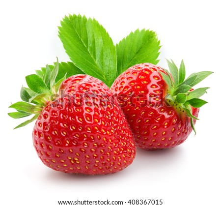 Shutterstock Two strawberries close up on white background
