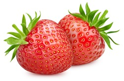 Two strawberries. Fresh organic strawberry isolated on white background. Strawberry macro
