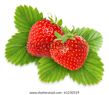 Two strawberries with leaves isolated on white