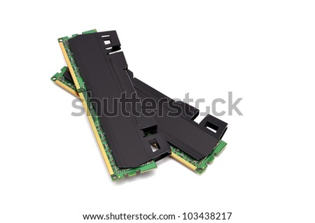 two strips of RAM on a white background