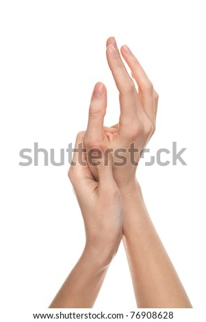 two stroking hands and arms isolated on white