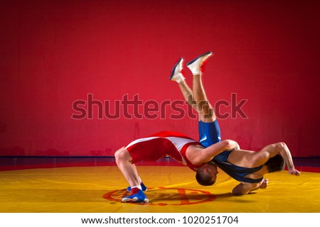 Two  strong men in blue and red wrestling tights are wrestlng and making a suplex wrestling on a yellow wrestling carpet in the gym. Wrestlers doing grapple.