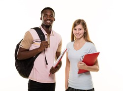 Two student on white background