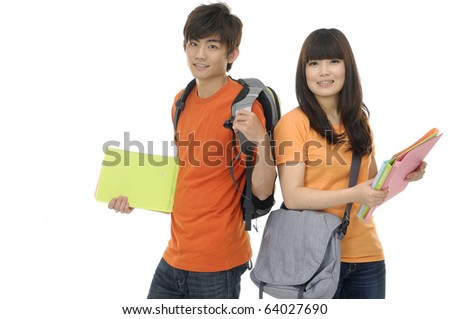 Two students with books and backpacks ,isolated
