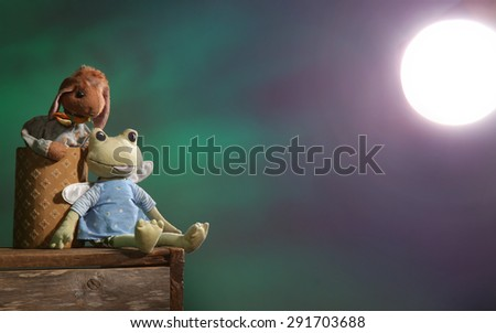 Two stuffed animals looking at a bright light