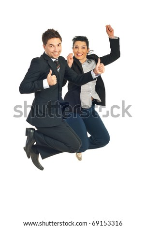 Two successful busienss people jumping and giving thumbs up isolated on white background