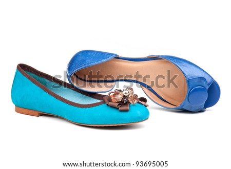 Two summer women shoes against white background