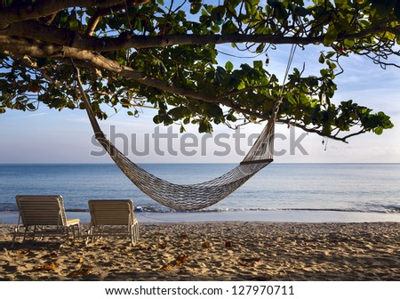Two sunbeds and hammock hanging on tree on beach ocean
