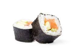 Two sushi fresh maki rolls, isolated on white