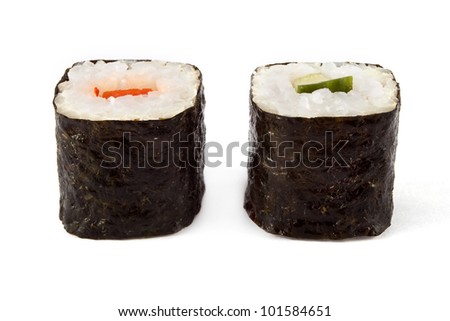 Two sushi rolls on a white background