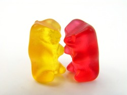 Two sweet bears holding hands