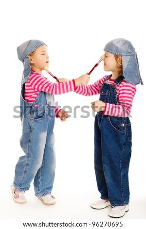 two sweet little twins painters
