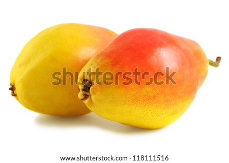 Two sweet pears isolated on a white background