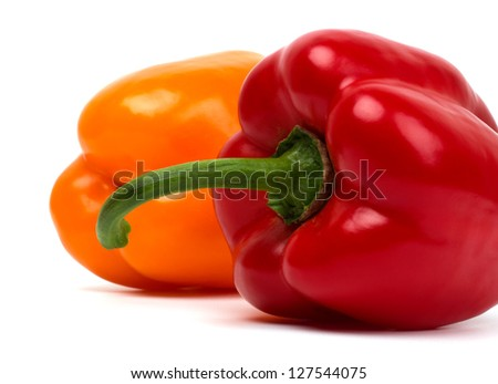 Two sweet peppers isolated on white
