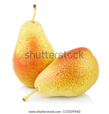 Two sweet red yellow pear fruits isolated on white