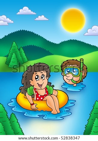 Kids Swimming In A Lake two swimming kids in lake - color illustration. - 52838347