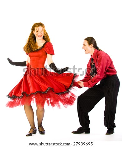 Two swing dancers isolated on white