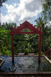 Two swings above the pool with an epic forest view ahead located near Ubud, Gianyar, Bali, Indonesia