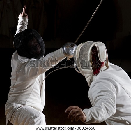 Two Swordsmen fencing.