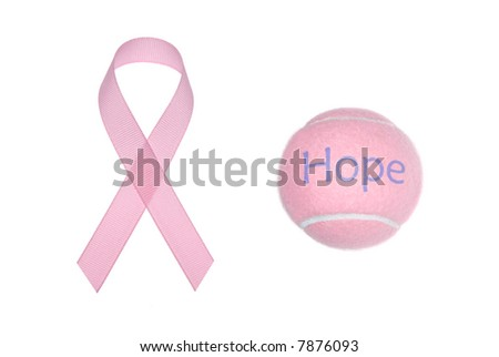 Two symbols of breast cancer awareness isolated on a white background.
